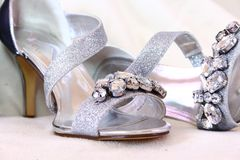 Silver Ladies shoes with Rhinestones stock images