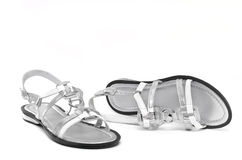 Silver lady's shoes. Stock Photos