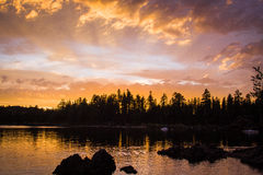 Silver Lake Καλιφόρνια ηλιοβασιλέματος βραδιού Στοκ Εικόνες