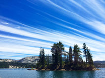 Silver Lake California. Lake scene with cirrus clouds Stock Photos