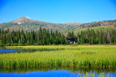 Silver Lake. A glimpse of Silver Lake and the surrounding mountains at the top of Big Cottonwood Canyon, Utah Royalty Free Stock Photo