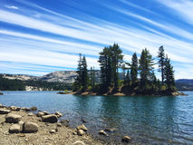 Silver Lake shore California. Lake scene with cirrus clouds Royalty Free Stock Photo