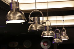 Silver lamp. Many lamps on the ceiling Stock Images