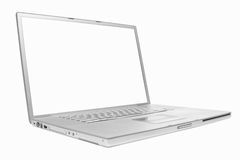 Silver laptop 17 inch. Silver 17 inch Apple laptop on white background stock images