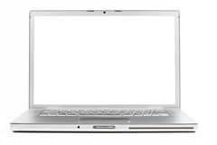 Silver laptop. Front wiev with black screen isolated on white background stock image