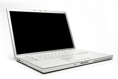 Silver Laptop. Aluminum Laptop isolated on white Stock Image