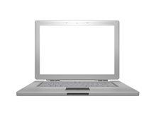 Silver laptop. Isolated on white Stock Image