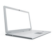 Silver laptop angle view Stock Image