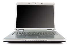 Silver laptop  with black screen Stock Photo