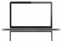 Silver Laptop with blank white screen Stock Images