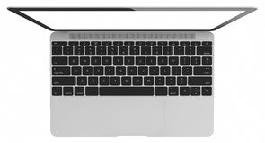 Silver Laptop with blank white screen Stock Photo