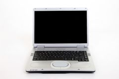 Silver Laptop Computer. Aagainst white background Royalty Free Stock Images