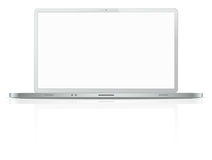 Silver laptop computer Stock Photo