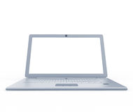 Silver laptop front view Royalty Free Stock Images