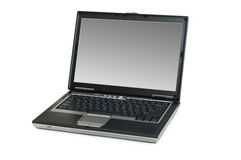 Silver laptop isolated. On the white background Stock Photo