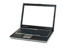 Silver laptop isolated. On the white background stock image