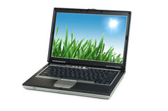 Silver laptop isolated Stock Image