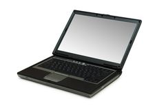Silver laptop isolated on the white background. Silver laptop isolated  on the white background Royalty Free Stock Image