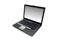Silver laptop isolated on  the white background. Silver laptop isolated on the white background Stock Photo