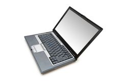 Silver laptop isolated  on the white background Stock Photography