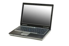 Silver laptop isolated on the white background Royalty Free Stock Images