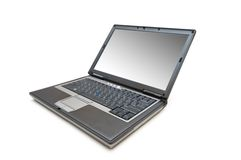 Silver laptop isolated on the white background Royalty Free Stock Photo