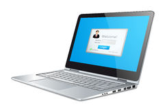 Silver laptop on white background. Concept - login Stock Photography