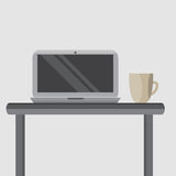 Silver laptop on your desktop with a cup of coffee Stock Photography