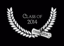 Silver laurel for 2014 graduation. Silver laurel design with diploma on black for class of 2014 Royalty Free Stock Photo