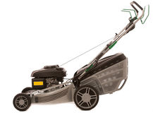 Silver Lawn Mower isolated over white background Stock Images