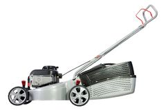 Silver lawn mower. Stock Photo