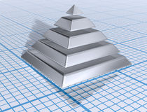Silver Layered Pyramid. Illustration of a silver layered pyramid on graph paper Royalty Free Stock Images