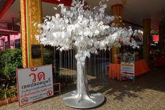 Silver leaf from Bodhi tree, planted in Thai temples. Also known as bo leave, There are many Buddhist beliefs legends about Leaves this. concept of luxury to Royalty Free Stock Photo