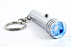 Silver led flashlight stock image