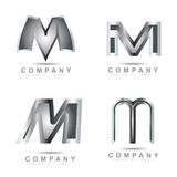 Silver letter M logo Stock Photography