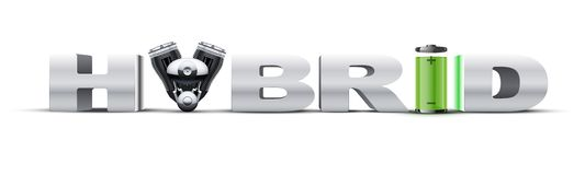Silver letters Hybrid on with engine and battery. Stock Photos