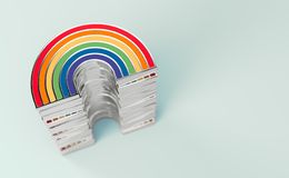 Silver LGBTQ rainbow pile for gay pride, LGBT, bisexual, homosexual symbol concept. Isolated on pastel pink background with copy. Silver LGBTQ rainbow pile for vector illustration
