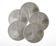 Silver Liberty Coins. One ounce silver Walking Liberty coins from the United States of America stock photos