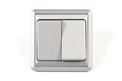 Silver light switch. Silver double light switch isolated on white background Royalty Free Stock Photography