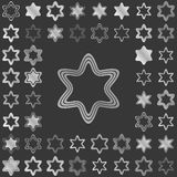 Silver line star icon design set Stock Images