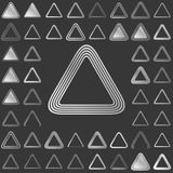 Silver line triangle icon design set. Silver metallic line triangle icon design set Royalty Free Stock Photography