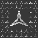Silver line triangle logo design set Royalty Free Stock Photos