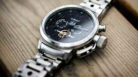Silver Link Bracelet Black U-boat Chronograph Watch Royalty Free Stock Photography