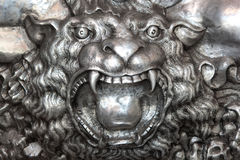 Silver Lion sculpture Thai style Stock Photography