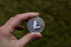 Silver Litecoin coin Royalty Free Stock Image
