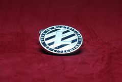 Silver litecoin on a red background stock images