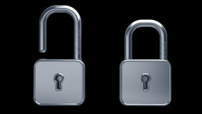 Silver lock 3d model. Illustration isolated High resolution. 3D image Royalty Free Stock Photo