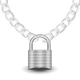 Silver lock on chain. Vector illustration of the silver lock and chain representing security Stock Photography