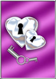 Silver lock hearts Royalty Free Stock Photography