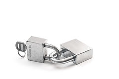 Silver lock. Isolated on white background Stock Photo